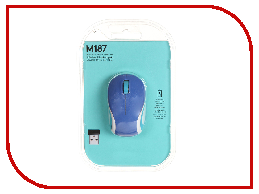 Мышь Logitech Wireless Mini Mouse M187 Blue 910-002738 / 910-002733