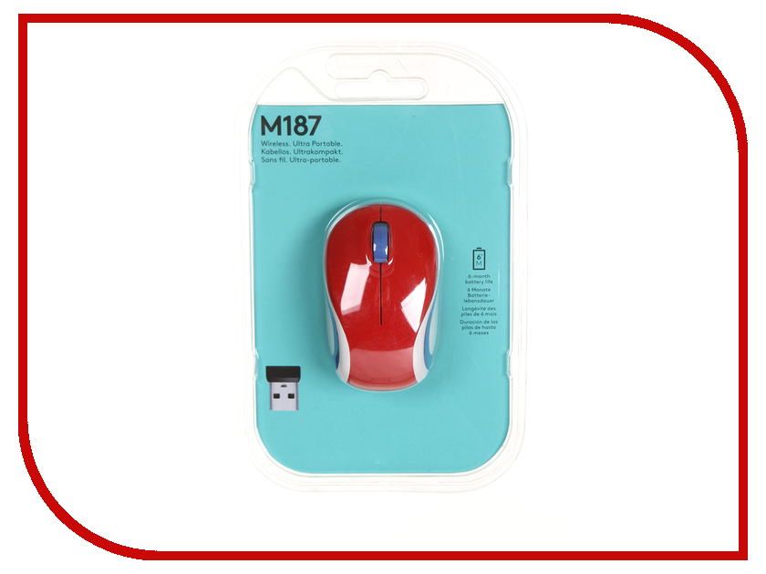 Мышь Logitech Wireless Mini Mouse M187 Red 910-002737 / 910-002732 цена