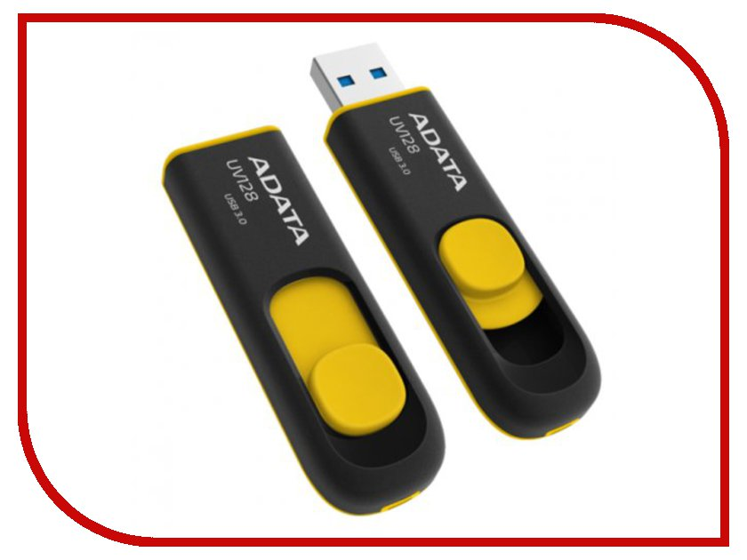 USB Flash Drive 64Gb - A-Data DashDrive UV128 USB 3.0 AUV128-64G-RBY usb flash накопитель a data dashdrive elite ue700 64gb