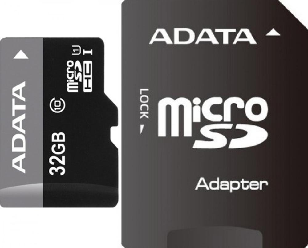 Карта памяти 32Gb - A-Data Premier - Micro Secure Digital HC Class 10 UHS-I U1 AUSDH32GUICL10-RA1 с переходником под SD карта памяти a data 64gbpremier microsdxc class 10 uhs i u1 sd адаптер ausdx64guicl10 ra1