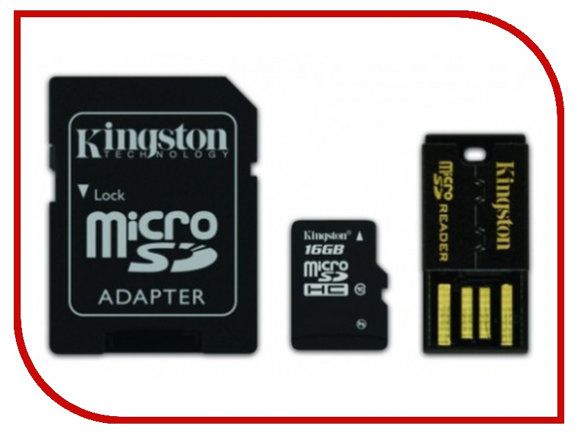 Карта памяти 16Gb - Kingston Kit - Micro Secure Digital HC Class 10 MBLY10G2/16GB c карт-ридером + переходник под SD secure digital memory card capacity 16gb sd card 16g