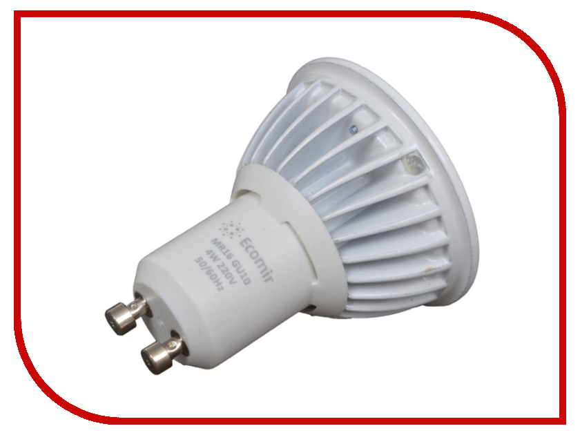 Лампочка Ecomir GU10 MR16 4W 3000K 220V матовая, жёлтый свет 43378 1pcs gu10 mr16 smd2835 led bulb e27 220v 230v spotlight 4w 6w 8w 48leds 60leds 80leds spot light cree bulb