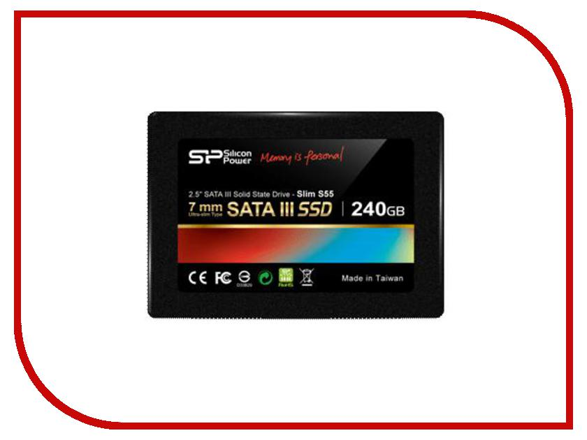 внутренние HDD/SSD SP240GBSS3S55S25  Жесткий диск 240Gb - Silicon Power Slim S55 SATA III SP240GBSS3S55S25