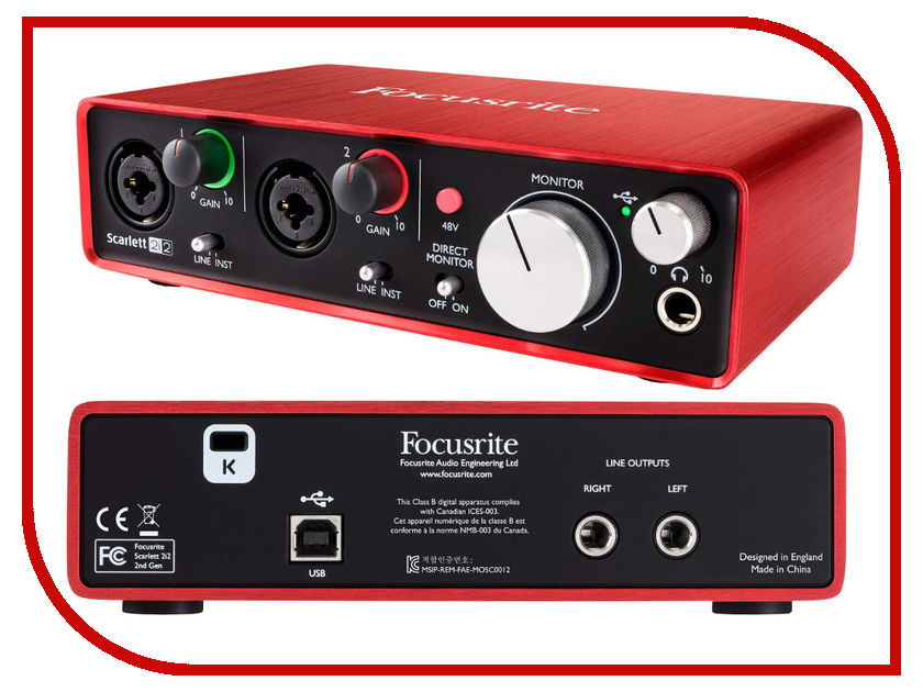 Аудиоинтерфейс Focusrite Scarlett 2i2 2nd Gen цена 2017