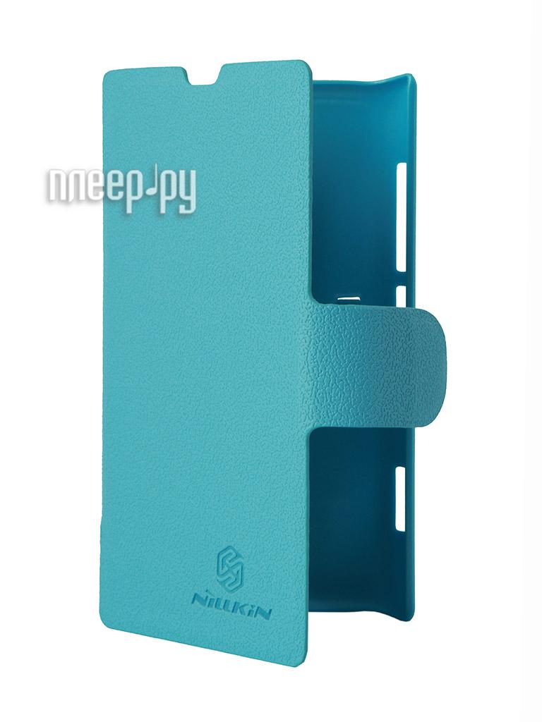 Аксессуар Чехол Nokia Lumia 520 Mozo Flip Cover / Nillkin Fresh Series Leather Case Blue  Pleer.ru  1199.000