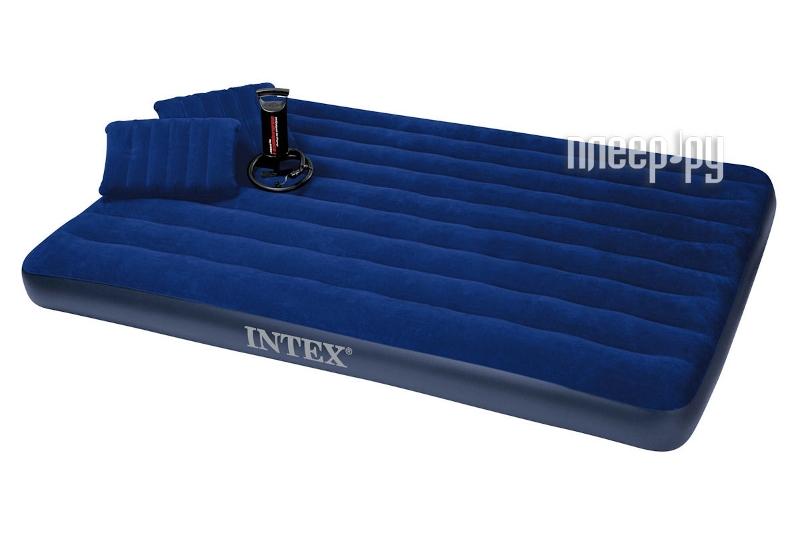 Надувной матрас Intex Classic 152x203x22 + 2 подушки + насос 68765  Pleer.ru  888.000