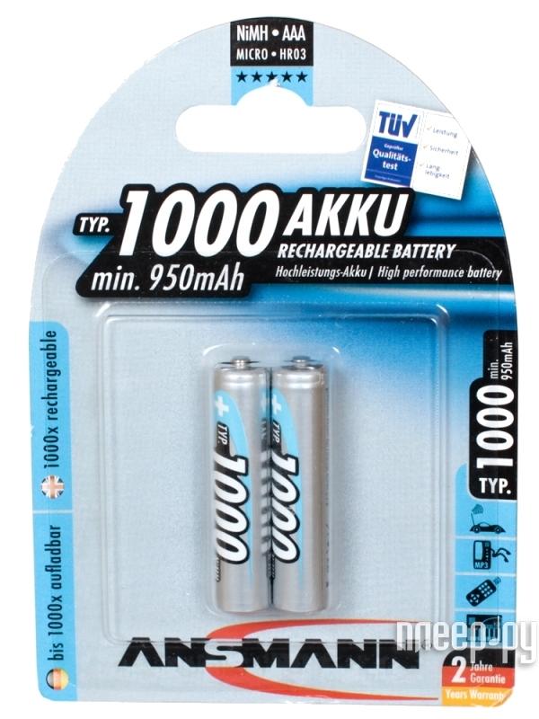Аккумулятор AAA - Ansmann R03 1000 mAh Ni-MH (2 штуки) R035012 5030892  Pleer.ru  537.000
