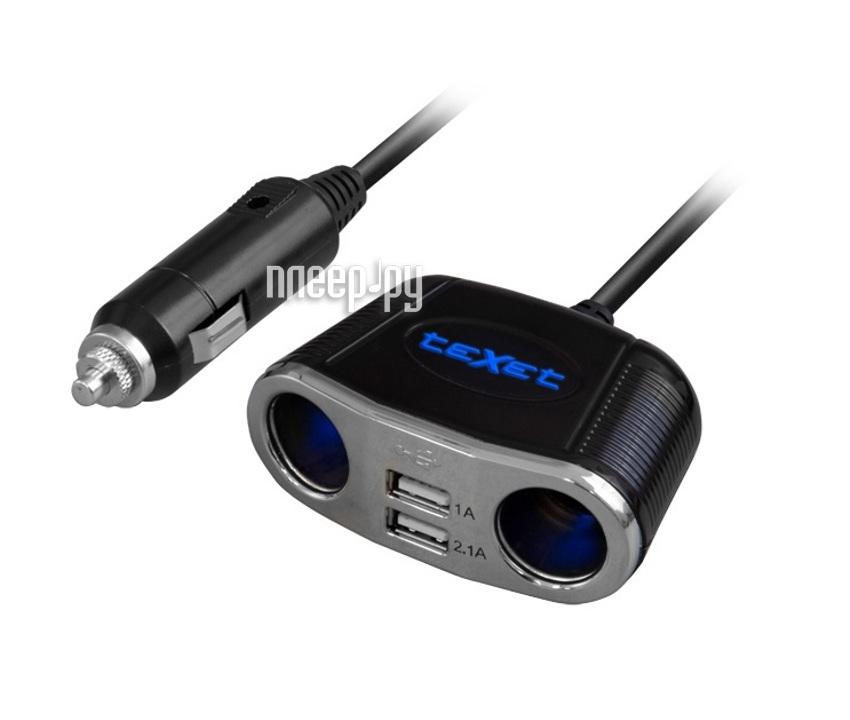 Аксессуар Разветвитель прикуривателя на 2 гнезда и 2-x USB 2.1A teXet TPC-1001  Pleer.ru  568.000