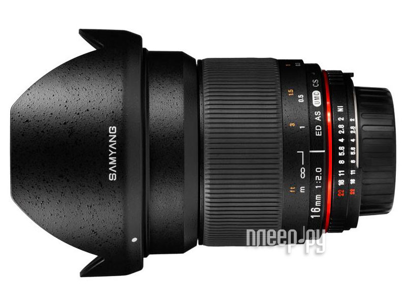 Объектив Samyang Canon MF 16 mm F/2.0 ED AS UMS CS  Pleer.ru  14987.000