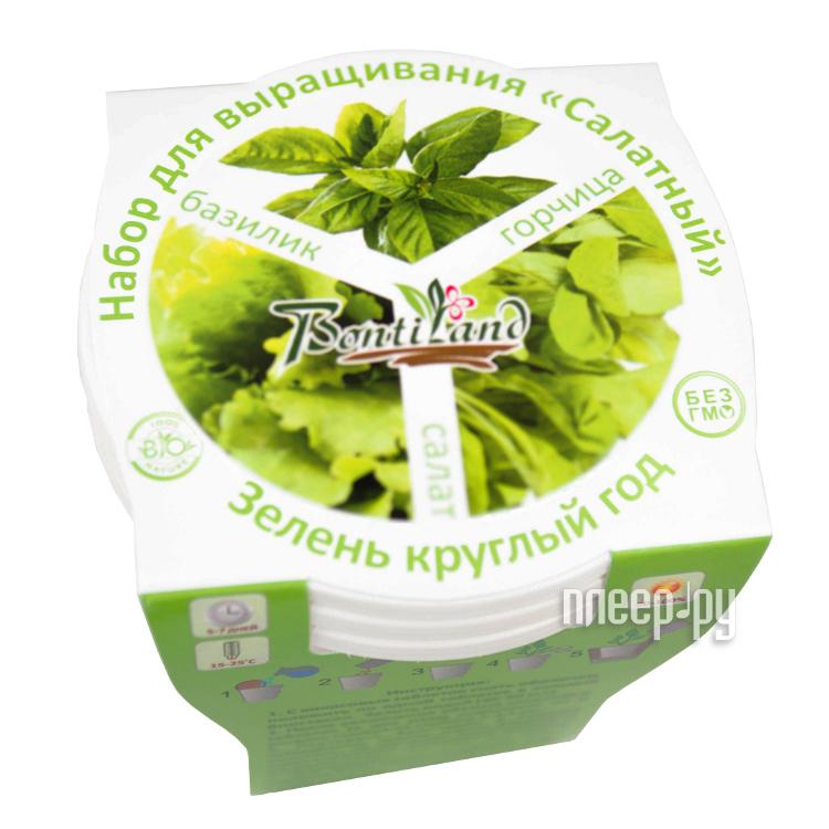 Растение BontiLand Зелень круглый год 412316 Салат, Зеленый лук, Кориандр