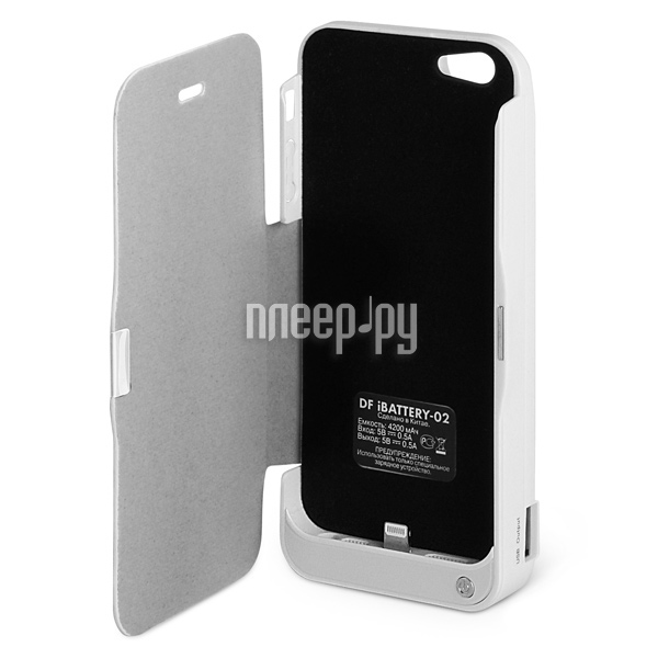 Аккумулятор DF iBattery-02 for iPhone 5 4200 mAh White  Pleer.ru  1299.000