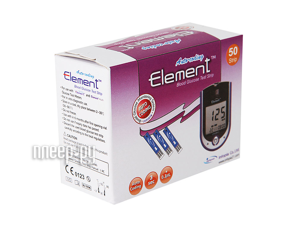Аксессуар Infopia Element Multi 50шт - тест-полоски на глюкозу  Pleer.ru  661.000