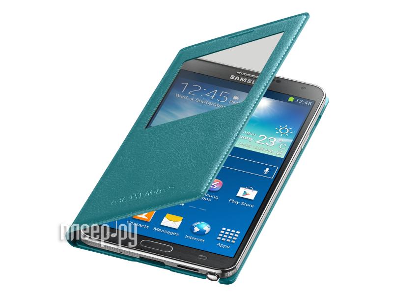 Аксессуар Чехол Samsung GT-N9000 Galaxy Note III S-View EF-CN900BLEGRU Mint Blue  Pleer.ru  2206.000