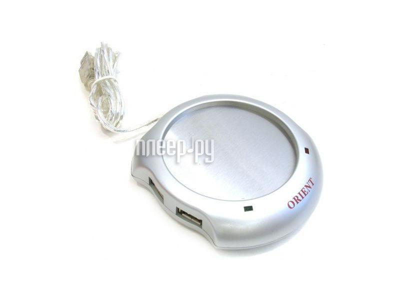 Подставка под кружку Подставка под кружку с подогревом от USB Silver & HUB 4 port USB 2.0 Orient W1002B  Pleer.ru  380.000