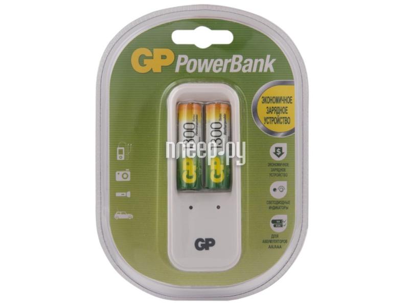 Зарядное устройство GP PowerBank 410GS + 2 ак. AA 1300 mAh (PB410GS130-2CR2)