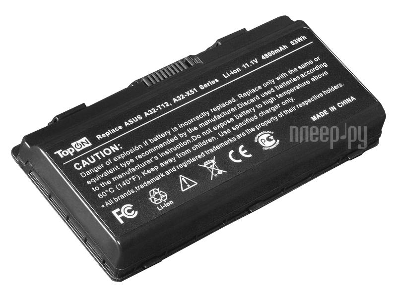 Аккумулятор TopON TOP-X51 11.1V 4800mAh for ASUS T12/T12C/T12Er/T12Fg/T12Jg/T12Mg/T12Ug/X51H/X51L/X51R/X51RL/X58/X85L  Pleer.ru  1570.000
