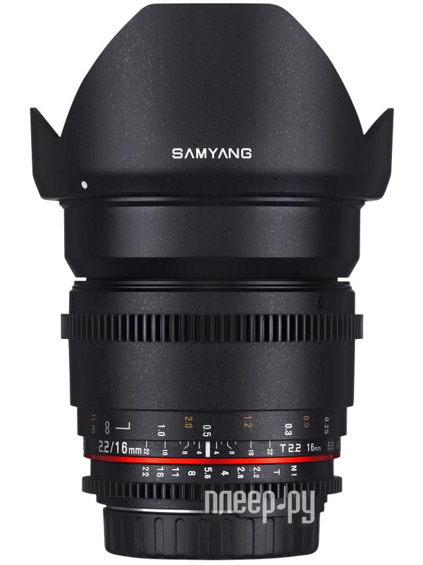Объектив Samyang Canon MF 16 mm T2.2 ED AS UMC CS VDSLR  Pleer.ru  17755.000