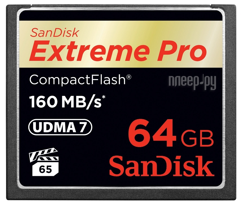 Карта памяти 64Gb - SanDisk 1000x Extreme Pro CF 160MB / s - Compact Flash SDCFXPS-064G-X46
