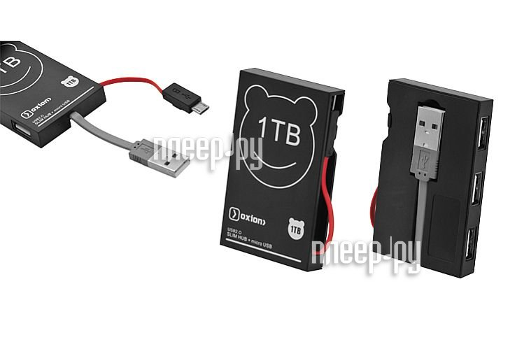Хаб USB Oxion OHB006BK USB 3 ports Black  Pleer.ru  549.000