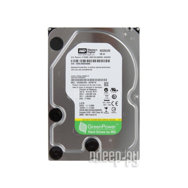 Жесткий диск 2Tb - Western Digital WD20EURX Green Power  Pleer.ru  3396.000