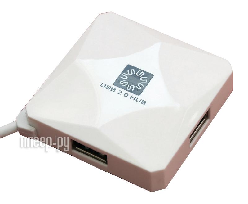 Хаб USB 5bites HB24-202WH USB 4 ports White  Pleer.ru  507.000