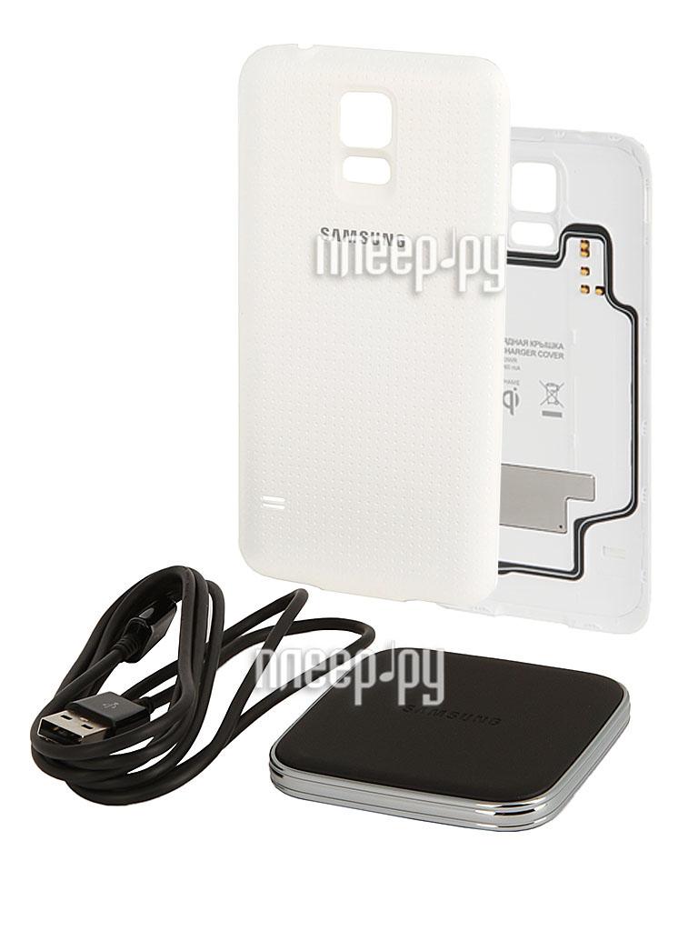 Аксессуар Зарядное устройство беспроводное + крышка Samsung GT-G900 Galaxy S5 EP-WG900IWRGRU White  Pleer.ru  2181.000