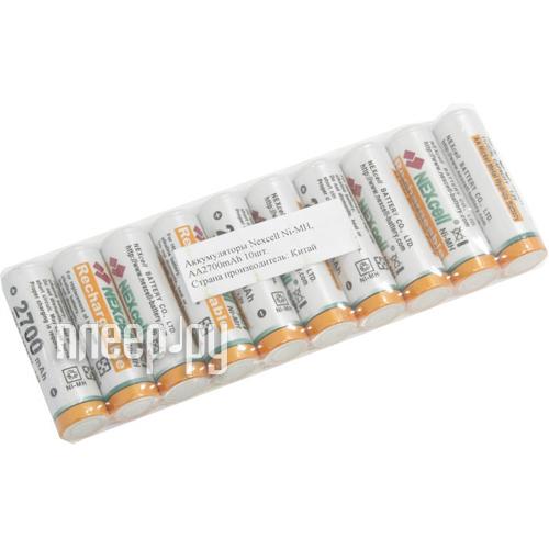 Аккумулятор AA - NEXcell 2700 mAh Ni-MH (10 штук) AA2700/10pack  Pleer.ru  871.000