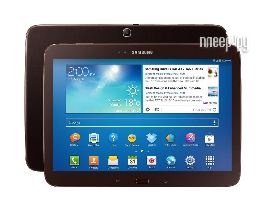 Планшет Samsung GT-P5200 Galaxy Tab 3 10.1 - 32Gb 3G + Wi-Fi Brown GT-P5200GNEMGF Dual Core 1.6 GHz/1024Mb/32Gb/Wi-Fi/Bluetooth/3G/A-GPS/Cam/10.1/1280x800/Android 4.2  Pleer.ru  14647.000