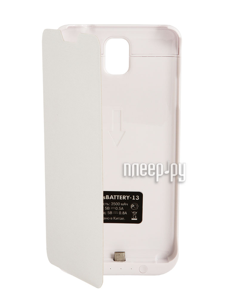 Аксессуар Чехол-аккумулятор Samsung SM-N900 Galaxy Note 3 DF SBattery-13 White  Pleer.ru  1649.000