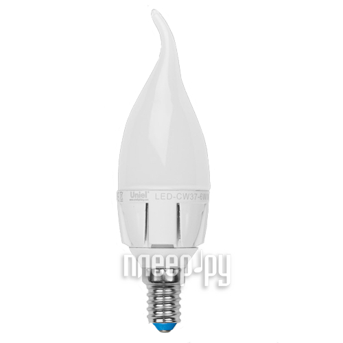 Лампочка Uniel LED CW37 6W/WW/E14/FR/DIM ALP01WH диммируемая свеча на ветру  Pleer.ru  270.000