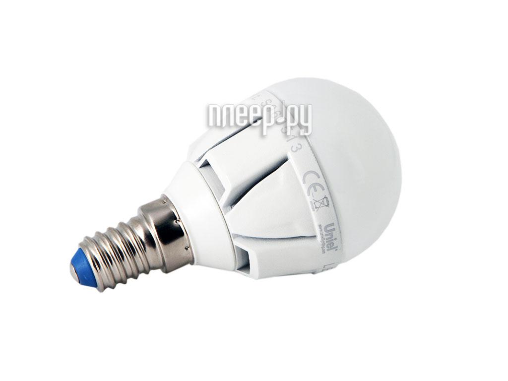 Лампочка Uniel LED G45 6W/WW/E14/FR/DIM ALP01WH диммируемая, шар  Pleer.ru  318.000