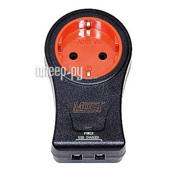 Сетевой фильтр Most MS-USB 1 Socket + 2USB Black 802478