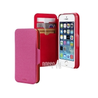 ����� PURO for iPhone 5 / 5S Bi-Color Wallet Eco-Leather Cover Red-Pink IPC5WALLETPNK1