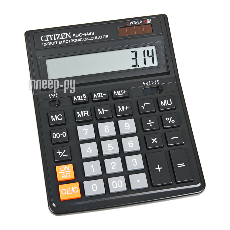 Калькулятор Citizen SDC-444S Black - двойное питание