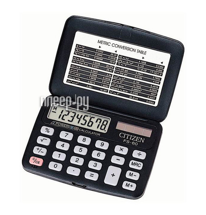 Калькулятор Citizen FS-60BKII Black - двойное питание