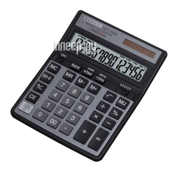 Калькулятор Citizen SDC-760N Black - двойное питание  Pleer.ru  528.000