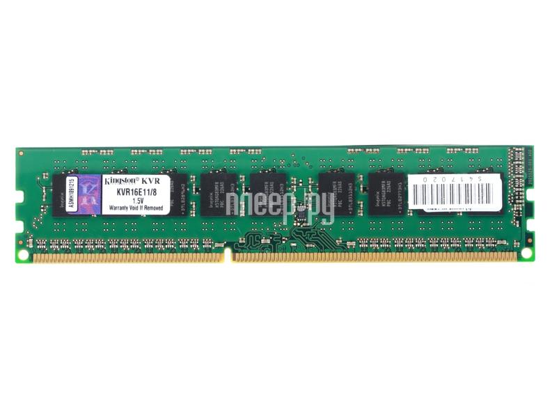 Модуль памяти Kingston DDR3 DIMM 1600MHz PC3-12800 ECC CL11 - 8Gb KVR16E11/8