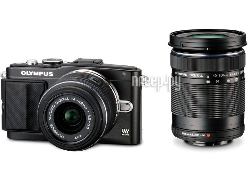 Фотоаппарат Olympus PEN E-PL5 Double Kit 14-42 mm II R & 40-150 mm R Black-Black-Black  Pleer.ru  18098.000