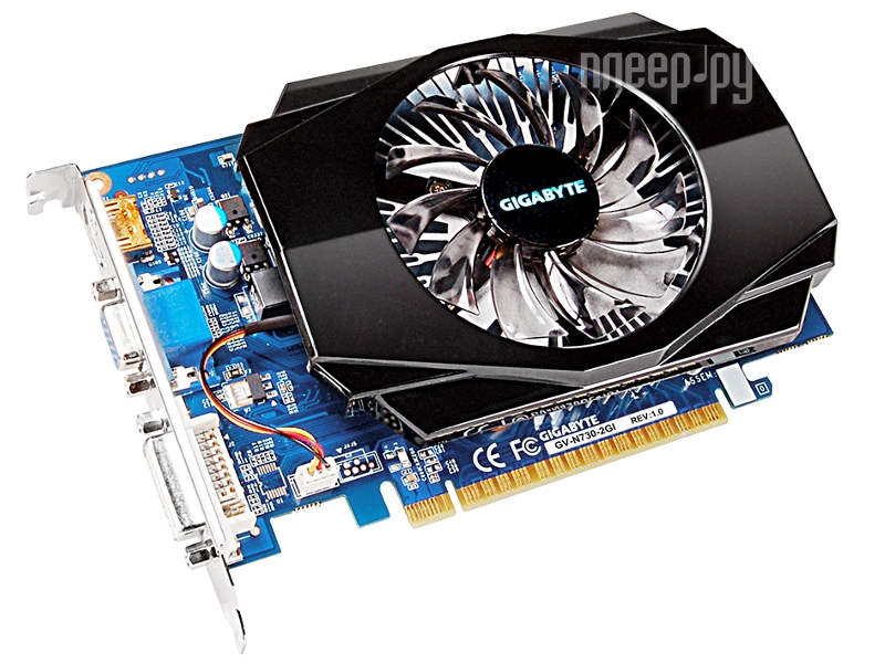 Видеокарта Gigabyte GeForce GT 730 700Mhz PCI-E 2.0 2048Mb 1600Mhz 128 bit DVI HDMI HDCP GV-N730-2GI  Pleer.ru  2411.000