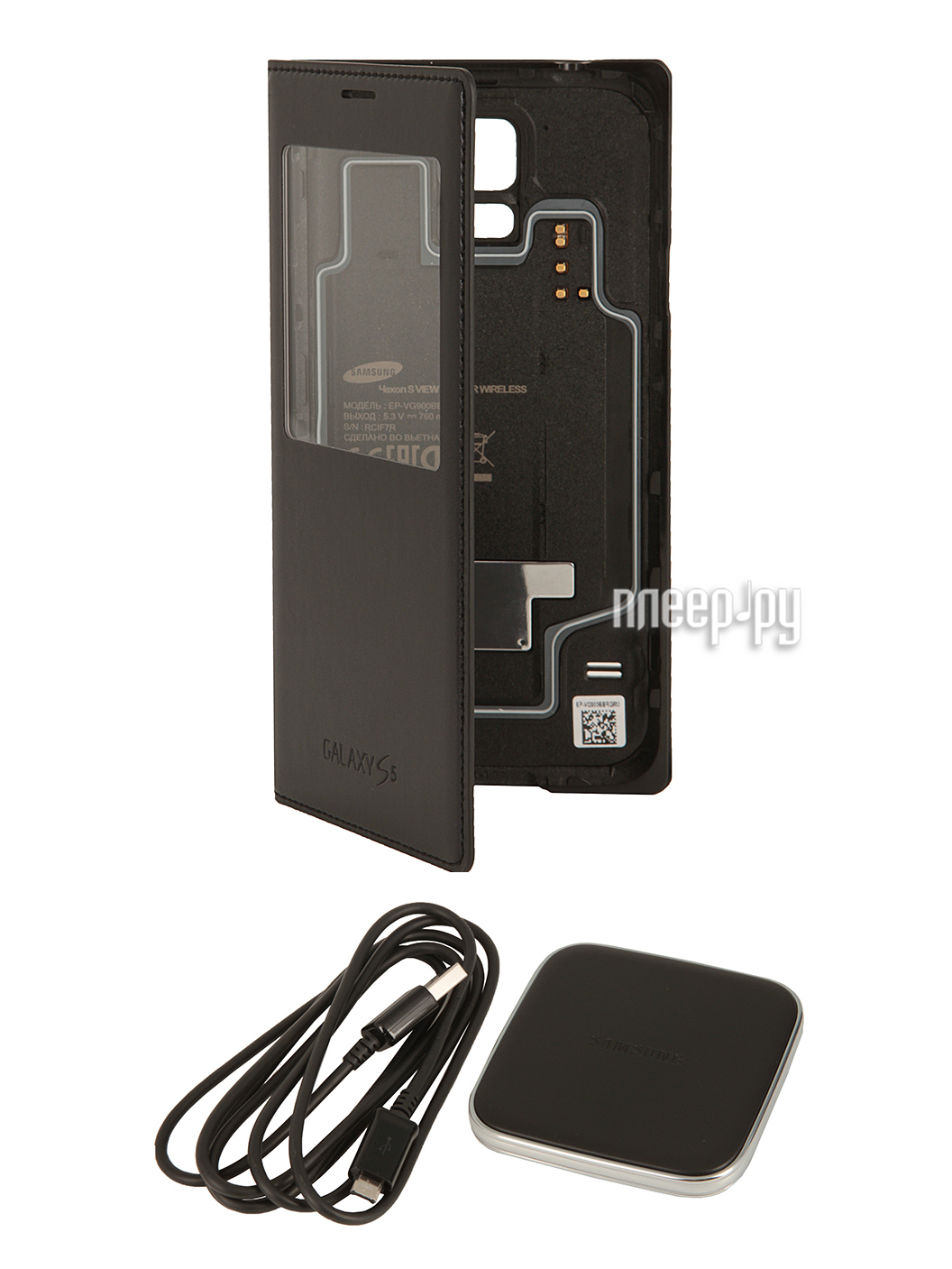 Аксессуар Чехол Samsung SM-G900F Galaxy S5 S-View EP-KG900PBRGRU Black  Pleer.ru  2918.000