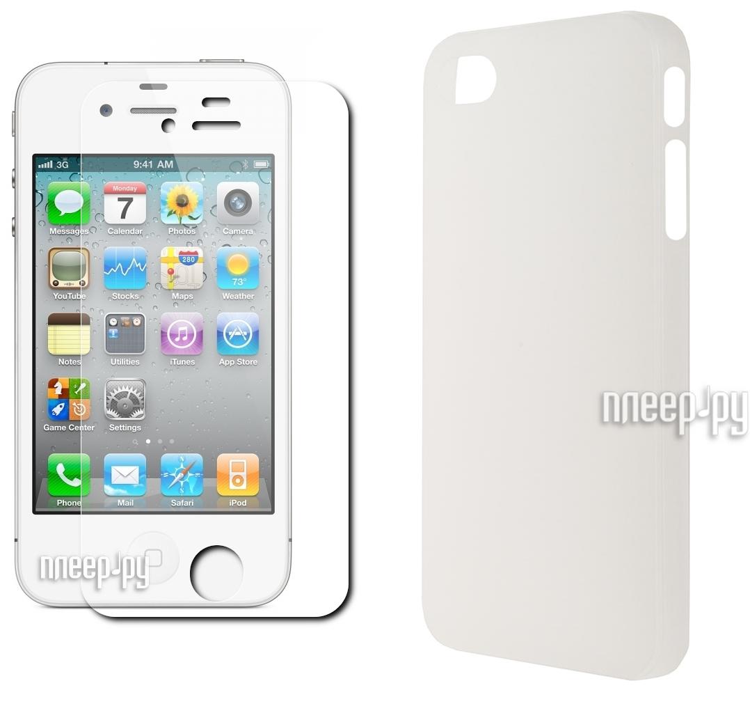Аксессуар Чехол + защитная пленка Deppa Sky Case for iPhone 4 / 4S Transparent 86006  Pleer.ru  1083.000