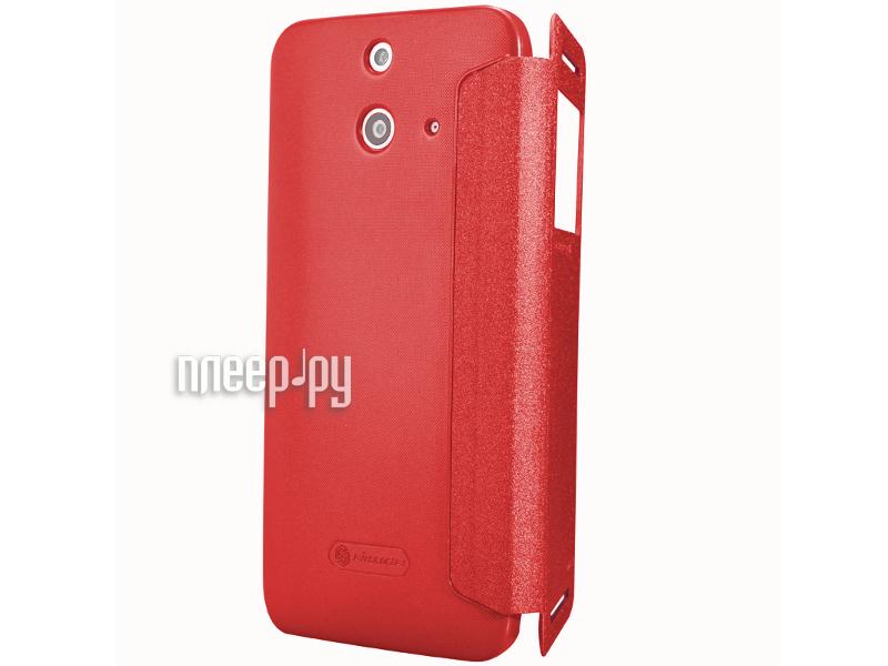 Аксессуар Чехол HTC One E8 Nillkin Sparkle Leather Case Red T-N-HE8-009  Pleer.ru  1199.000