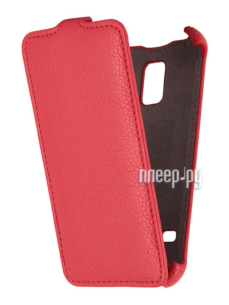 Аксессуар Чехол Samsung SM-G800 Galaxy S5 mini EcoStyle Flip Sheel Red ESH-F-SGS5mini-RED  Pleer.ru  1100.000