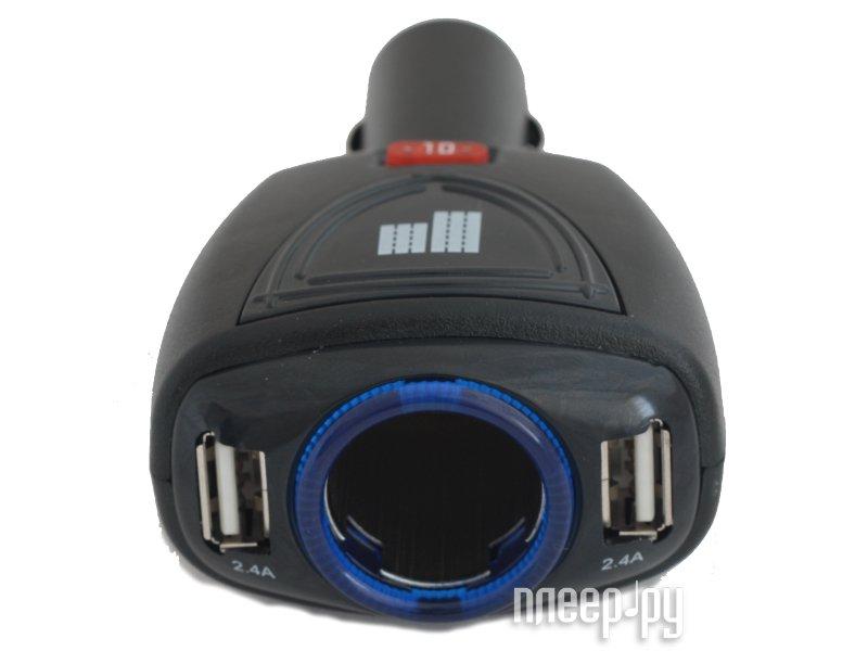 Аксессуар Разветвитель прикуривателя на 1 гнездо и 2 USB выхода ParkCity SM-121