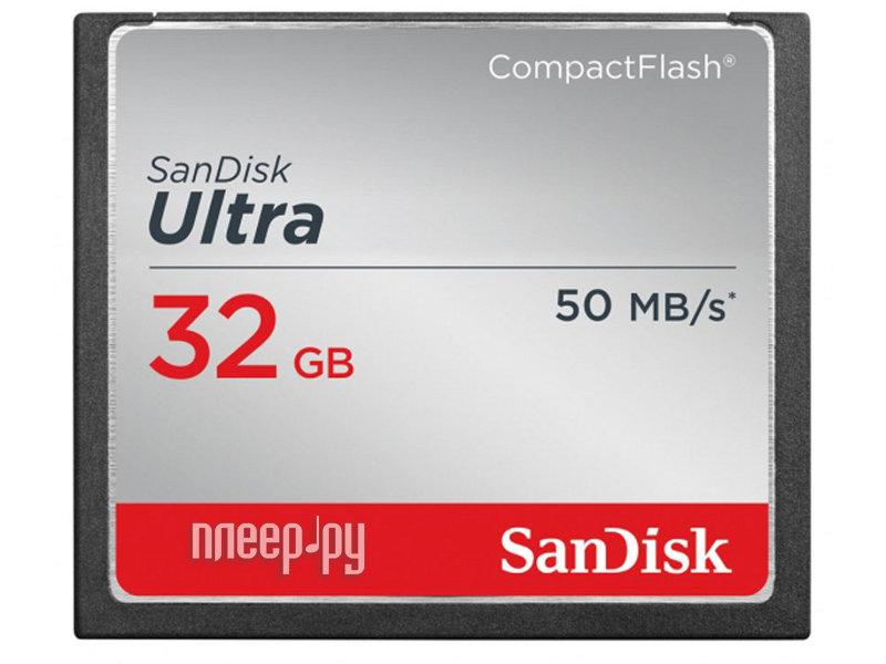 Карта памяти 32Gb - SanDisk Ultra CF 50MB/s - Compact Flash SDCFHS-032G-G46  Pleer.ru  1567.000