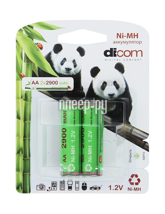 Аккумулятор AA - Dicom Panda 2900 mAh Ni-MH AA2900mAh (2 штуки)  Pleer.ru  430.000