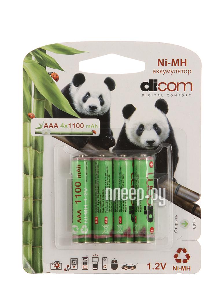 Аккумулятор AAA - Dicom Panda 1100 mAh Ni-MH AAA1100mAh (4 штуки)  Pleer.ru  410.000