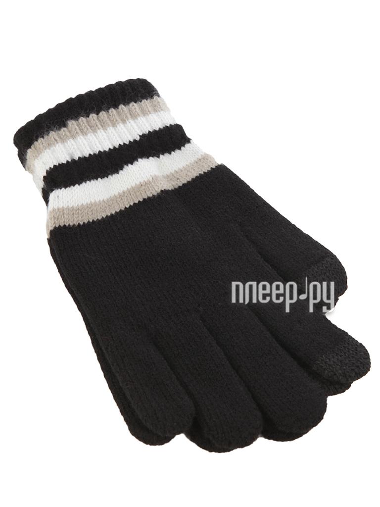 Теплые перчатки для сенсорных дисплеев iCasemore трикотажные полосы на манжетах р.UNI Black