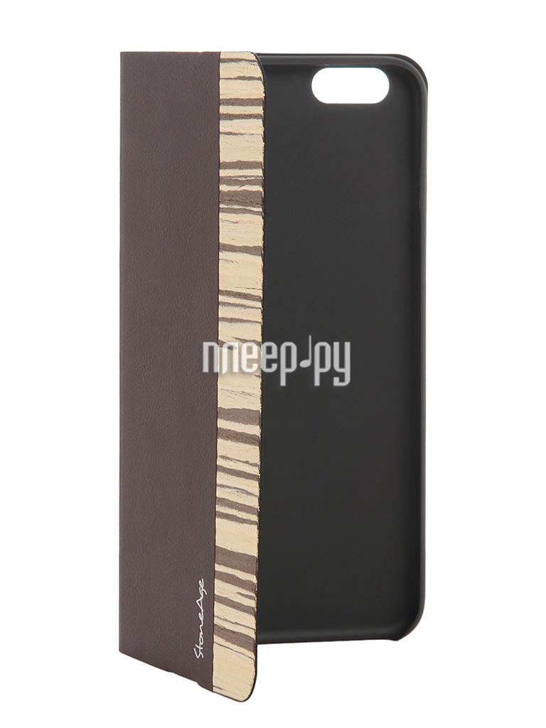 Аксессуар Чехол-накладка Stone Age Jungle Collection Wood Skin for iPhone 6 Plus Brown