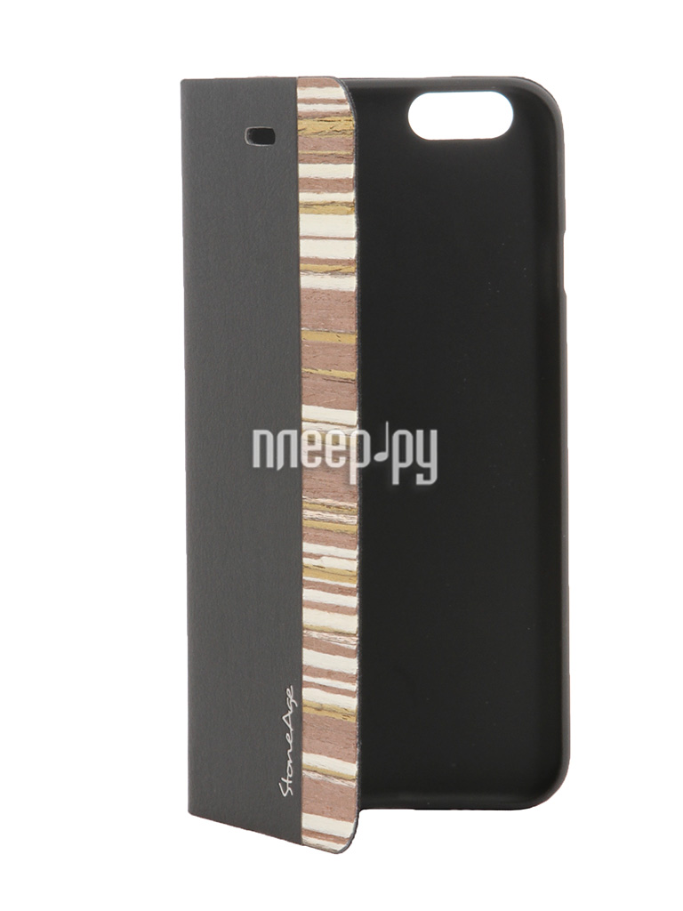 Аксессуар Чехол-накладка Stone Age Jungle Collection Wood Skin for iPhone 6 Plus кожа Black W8585